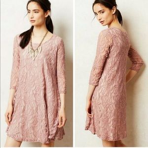 Anthro Puella Amore dusty pink lace overlay dress